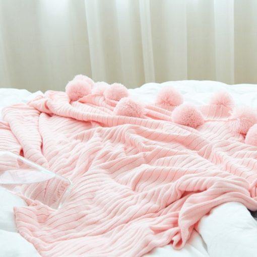 Без названия 5 1 510x510 - throws, sale - Pom Pom Cotton Throw Blanket