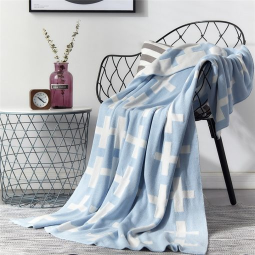 1020 751b2a 510x510 - throws, sale - Lovely Cross Printed Supersoft Knitted Cotton Throw Blanket