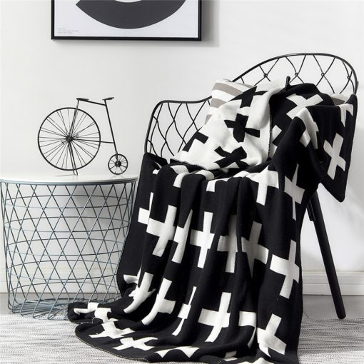 1020 9908cc 510x510 - throws, sale - Lovely Cross Printed Supersoft Knitted Cotton Throw Blanket
