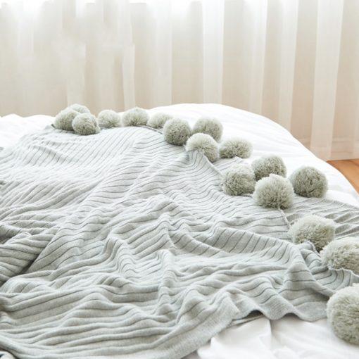 988 bede04 510x510 - throws, sale - Pom Pom Cotton Throw Blanket