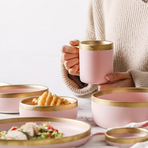 3999 nq1n7k 510x510 - tabletop-and-bar, sale, dinnerware - The Ophelia Collection Matte Pink Ceramic Dinnerware