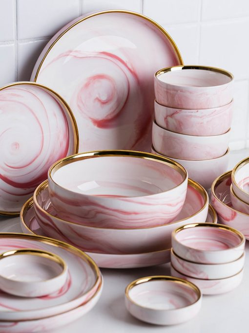 4013 xrpmzg 510x680 - tabletop-and-bar, dinnerware - Penelope Collection Pink Marble Dinnerware