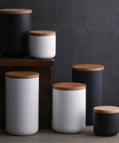 4387 24wbfs 247x296 - trays-and-storage, tabletop-and-bar, sale, dinnerware - The Ash Collection Ceramic Storage Jars with Wooden Lids