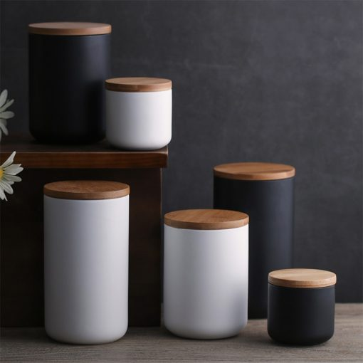 4387 24wbfs 510x510 - trays-and-storage, tabletop-and-bar, sale, dinnerware - The Ash Collection Ceramic Storage Jars with Wooden Lids