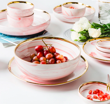 Screen Shot 2019 08 29 at 6.04.14 PM - tabletop-and-bar, dinnerware - Penelope Collection Pink Marble Dinnerware