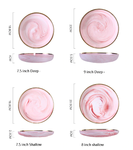 Screen Shot 2019 08 29 at 6.04.56 PM - tabletop-and-bar, dinnerware - Penelope Collection Pink Marble Dinnerware