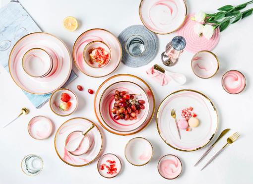 Screen Shot 2019 08 29 at 6.11.27 PM 510x371 - tabletop-and-bar, dinnerware - Penelope Collection Pink Marble Dinnerware