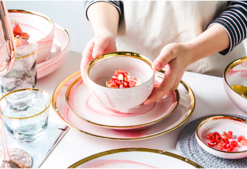 Screen Shot 2019 08 29 at 6.11.56 PM 510x348 - tabletop-and-bar, dinnerware - Penelope Collection Pink Marble Dinnerware