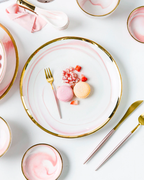 Screen Shot 2019 08 29 at 6.12.21 PM - tabletop-and-bar, dinnerware - Penelope Collection Pink Marble Dinnerware