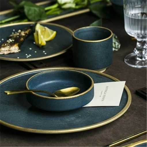 4642 odffmj 510x510 - tabletop-and-bar, dinnerware - The Ash Collection Jade Ceramic Dishes with Golden Accents