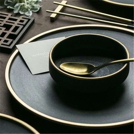 4642 tvtnfb 510x510 - tabletop-and-bar, dinnerware - The Ash Collection Jade Ceramic Dishes with Golden Accents