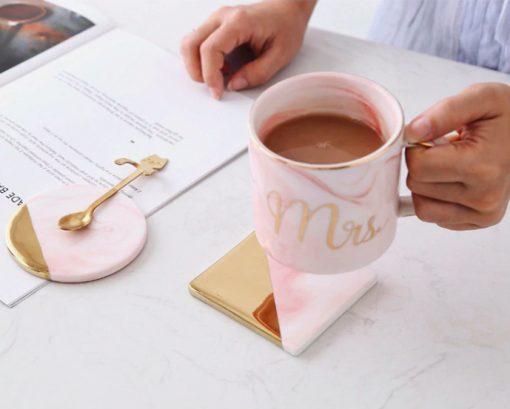 Coaster pink 510x409 - tabletop-and-bar, drinkware - Rose Marble Ceramic Coaster
