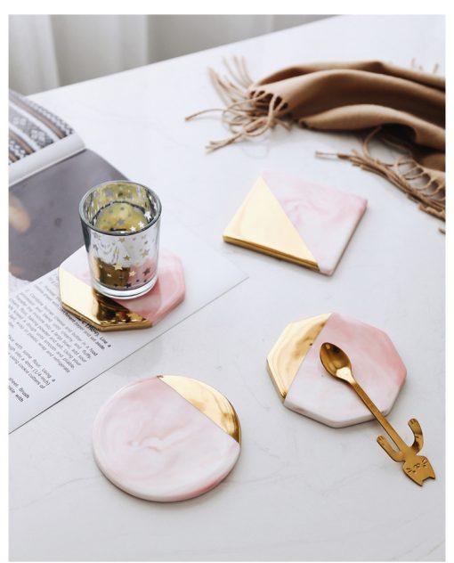 Pink Coaster1 510x632 - tabletop-and-bar, drinkware - Rose Marble Ceramic Coaster
