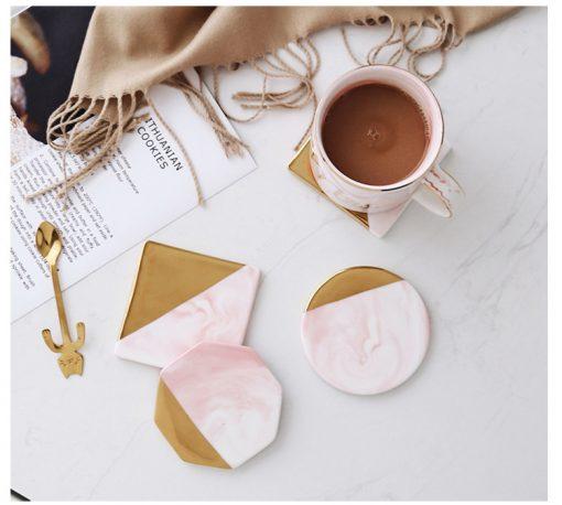 Pink Coaster3 510x458 - tabletop-and-bar, drinkware - Rose Marble Ceramic Coaster