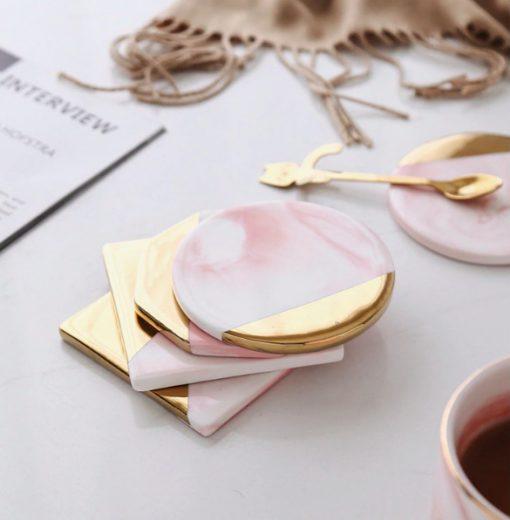 Screen Shot 2019 04 24 at 1.16.47 PM 510x520 - tabletop-and-bar, drinkware - Rose Marble Ceramic Coaster