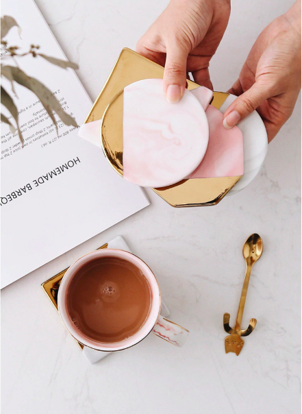 Screen Shot 2019 04 24 at 1.17.30 PM - tabletop-and-bar, drinkware - Rose Marble Ceramic Coaster