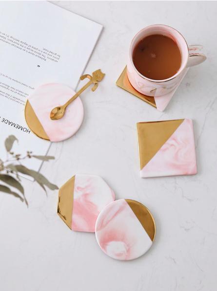 Screen Shot 2019 04 24 at 1.18.50 PM - tabletop-and-bar, drinkware - Rose Marble Ceramic Coaster