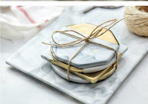 grey coastr3 510x358 - tabletop-and-bar, drinkware - Gold Marble Ceramic Coaster