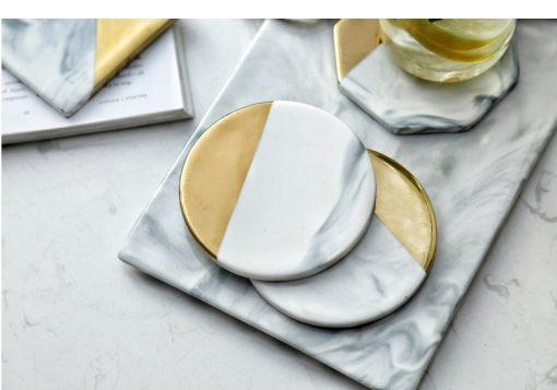 grey coastr4 510x357 - tabletop-and-bar, drinkware - Gold Marble Ceramic Coaster