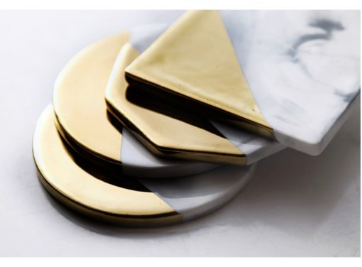 grey coastr5 510x376 - tabletop-and-bar, drinkware - Gold Marble Ceramic Coaster