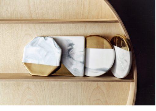 grey coastr6 510x364 - tabletop-and-bar, drinkware - Gold Marble Ceramic Coaster